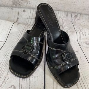 Cole Haan Country Black Leather Slip on Sandals